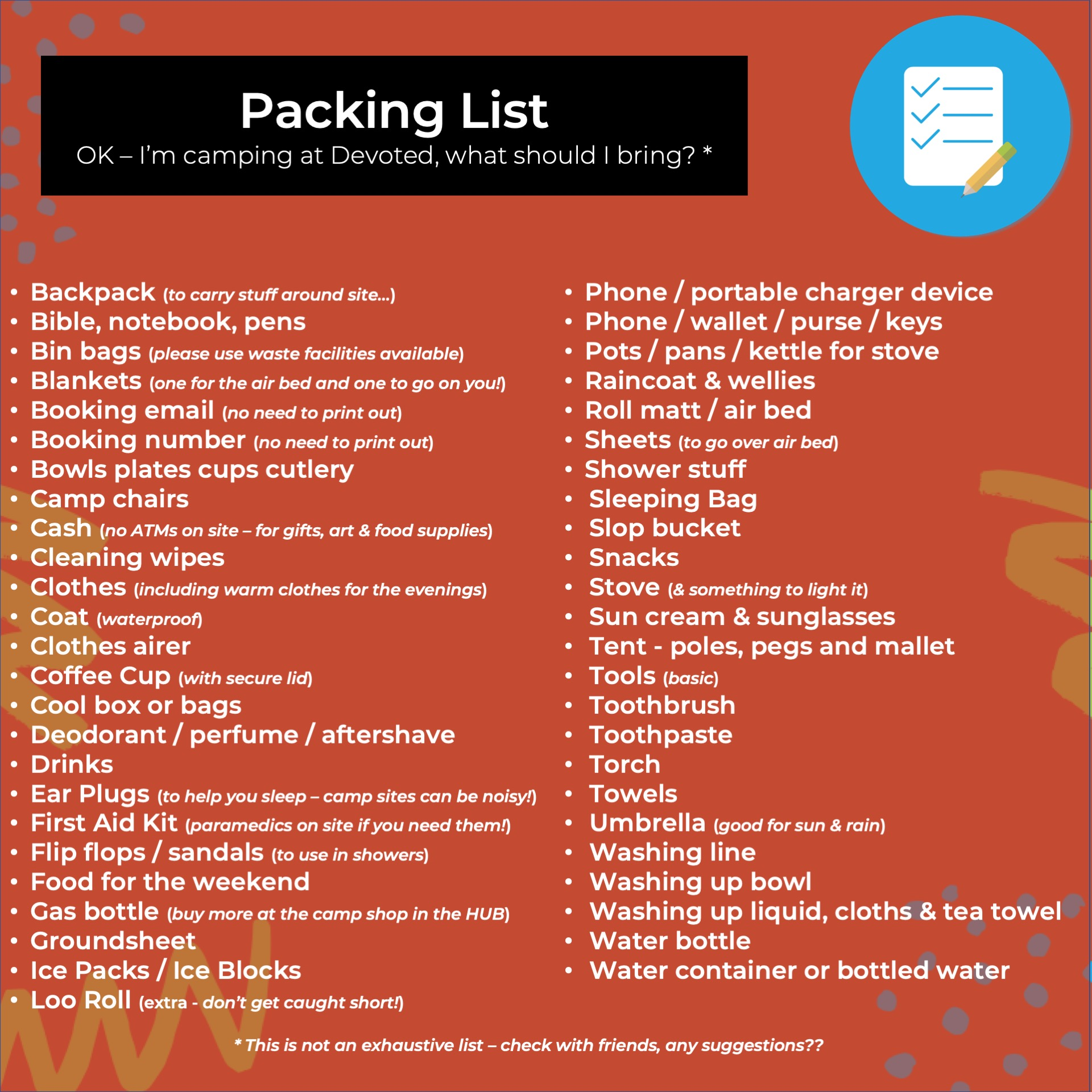 Packing List - Devoted