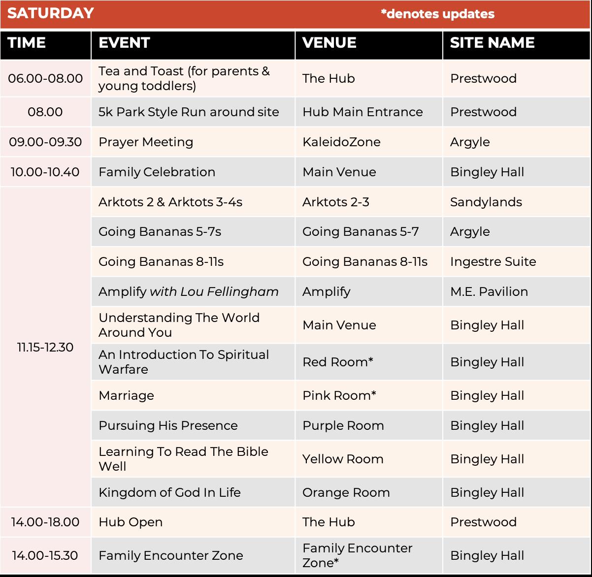 Schedule - Saturday 1
