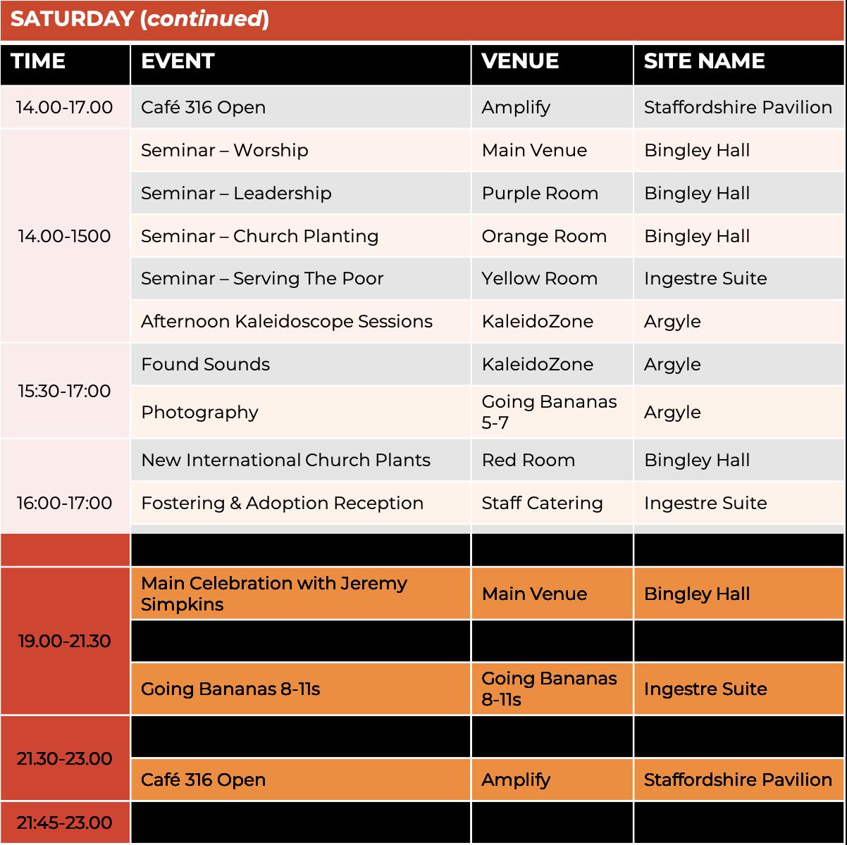 Schedule - Saturday 2