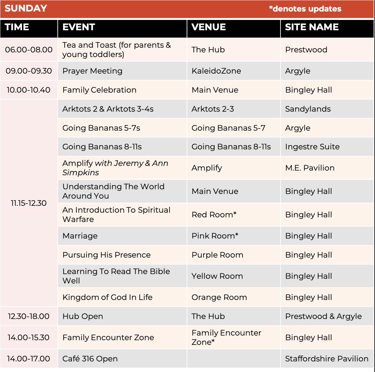 Schedule - Sunday 1