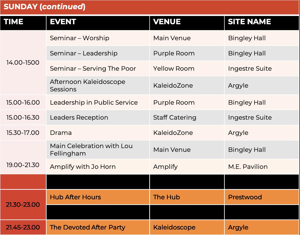 Schedule - Sunday 2